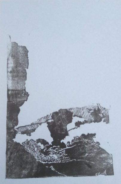 Test d'impression. Linogravure représentant Les Mourres, Luberon.