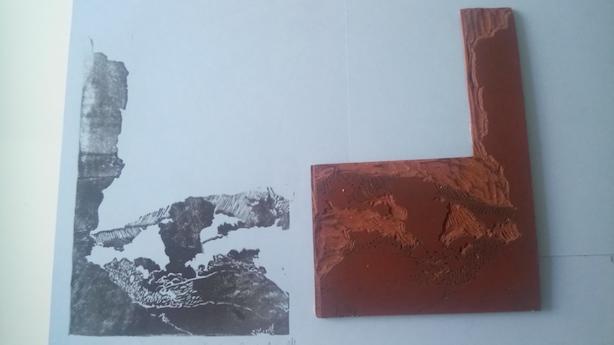 La plaque et l'impression de la linogravure. Les Mourres, Luberon