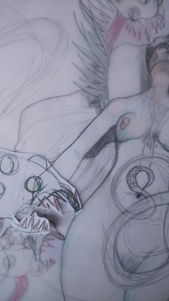 Crayonné de l'illustration et travail préparatoire