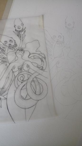 Calque et crayonné définitif avant la mise en couleur
