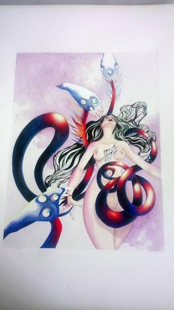 Illustration finale personnage féminin transe ou folie