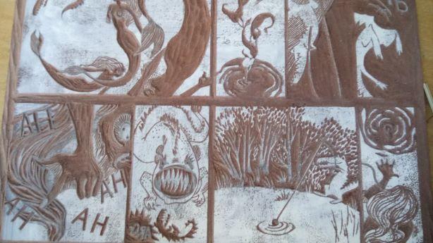 Linogravure de la BD Wanu, plaque gravée avant impression