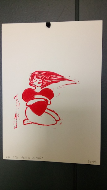Carte postale linogravure rouge
