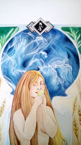 Encens Bleu, nu féminin et fumée d'encens, logo La Manufacture du Siècle