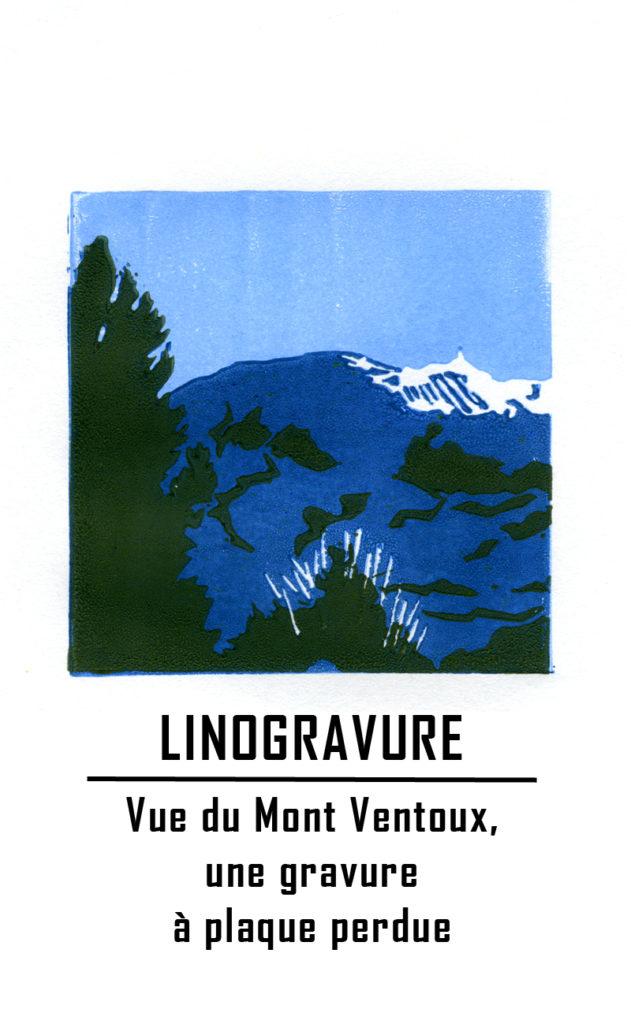 Vue du Mont Ventoux, Vaucluse - linogravure étape par étape