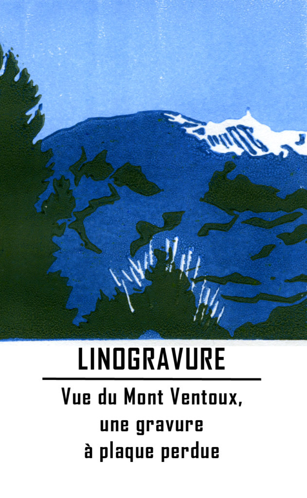 Vue du Mont Ventoux, Vaucluse - linogravure en réduction