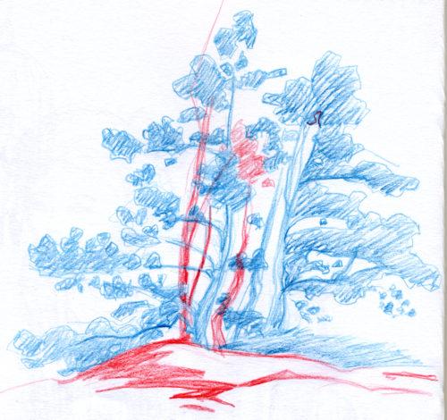 Croquis réalisé à Bedoin (84), site des demoiselles coiffées