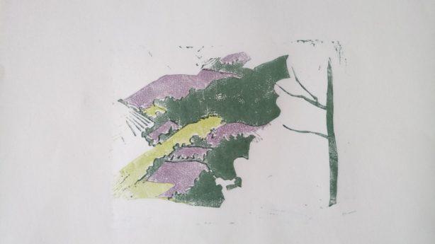 Linogravure trois couleurs