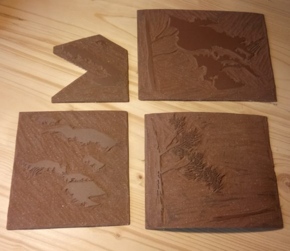 linogravure lavande plaques