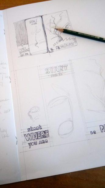 Croquis et dessin linogravure nouvel an