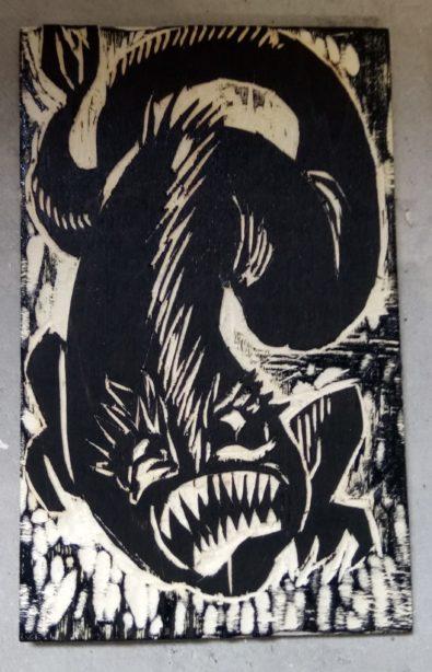 Une des plaques que j'ai gravées pendant le festival, gravure sur bois