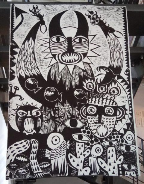 Chrystelle Zittel, Monstres, gravure sur bois