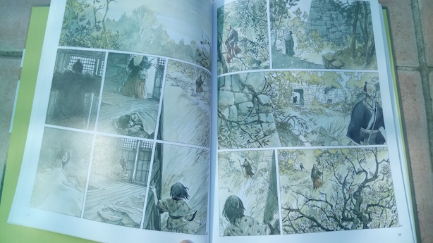 Double page sans texte, aquarelle - L'Encre du Passé BD