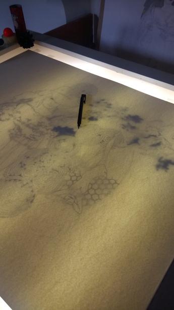 Report du dessin à la table lumineuse : conserver les détails du crayonné