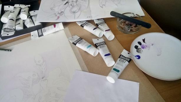 Palette de peinture et début de mise en couleur