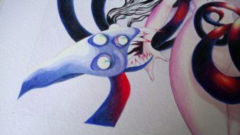 Illustration de la folie, hydre et personnage féminin