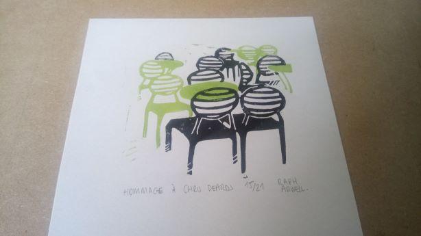 Hommage à Chris Deards, linogravure en deux couleurs, 21 exemplaires signés et numérotés