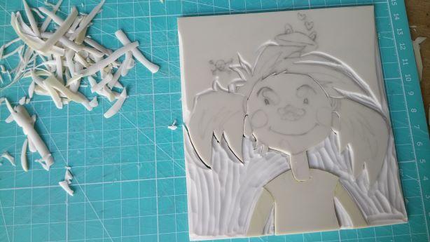 Portrait en linogravure : gravure de la première plaque