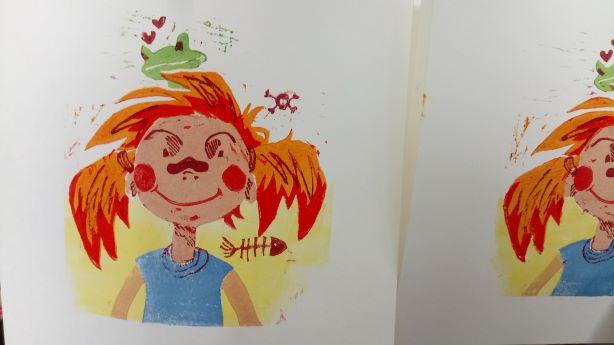 Portrait en linogravure de mon personnage Anne-Charlotte