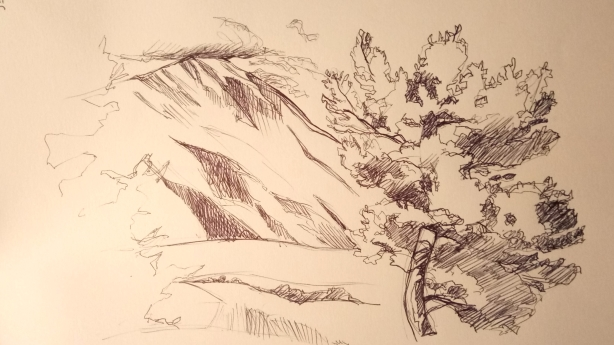 Croquis du Mont Ventoux depuis Ferrassières, Drôme (26)