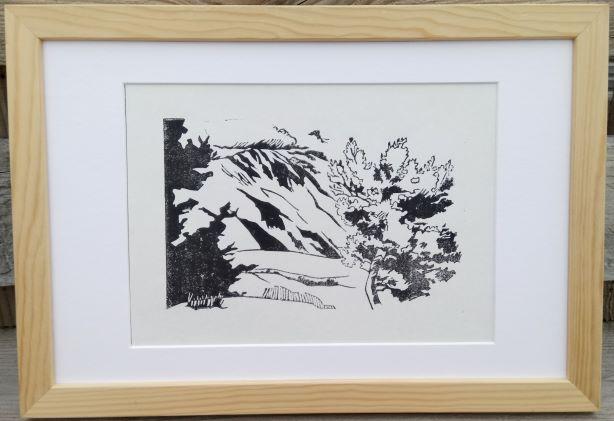 """Estampe encadrée """"Nuage sur le Mont Ventoux"""" - Croquis de Ferrassières (26)"""